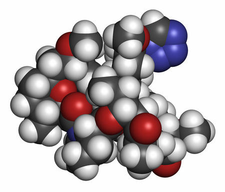 generic drugs: Zotarolimus immunosuppressant molecule. Used in drug-eluting coronary stents. Atoms are represented as spheres with conventional color coding: hydrogen (white), carbon (grey), oxygen (red), nitrogen (blue). Stock Photo