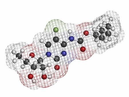 hidrogeno: C�ncer de Capecitabina mol�cula de f�rmaco. Prof�rmaco de 5-fluorouracilo (5-FU). Los �tomos se representan como esferas con codificaci�n de colores convencionales: hidr�geno (blanco), carb�n (gris), nitr�geno (azul), ox�geno (rojo), fl�or (verde claro).