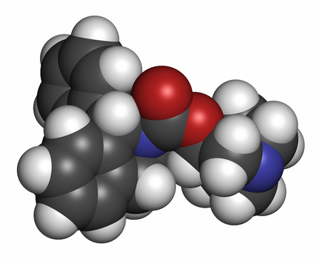 incontinence: Solifenacin overactive bladder drug molecule. Atoms are represented as spheres with conventional color coding: hydrogen (white), carbon (grey), oxygen (red), nitrogen (blue). Stock Photo