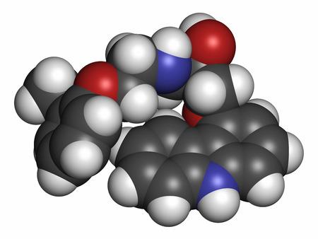 insuficiencia cardiaca: Mol�cula del f�rmaco carvedilol congestiva insuficiencia card�aca. Los �tomos se representan como esferas con codificaci�n de colores convencionales: hidr�geno (blanco), carb�n (gris), ox�geno (rojo), nitr�geno (azul). Foto de archivo