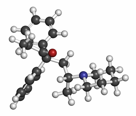 generic drugs: Dipipanone opioid analgesic drug molecule. Atoms are represented as spheres with conventional color coding: hydrogen (white), carbon (grey), oxygen (red), nitrogen (blue).