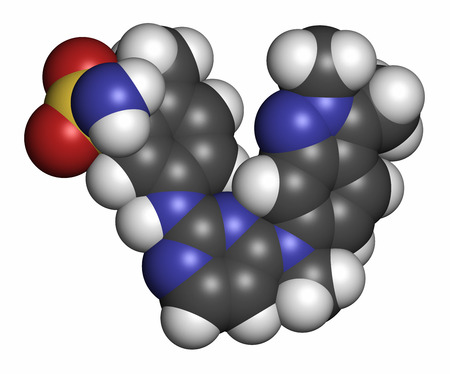 inhibitor: Pazopanib cancer drug molecule (tyrosine kinase inhibitor class). Atoms are represented as spheres with conventional color coding: hydrogen (white), carbon (grey), oxygen (red), nitrogen (blue), sulfur (yellow).