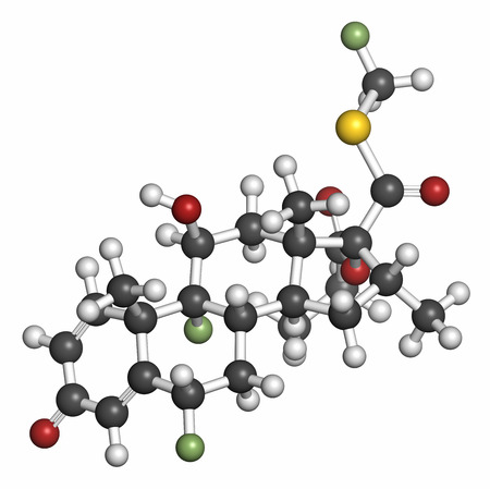 crohn: Fluticasone corticosteroid drug molecule. Atoms are represented as spheres with conventional color coding: hydrogen (white), carbon (grey), oxygen (red), sulfur (yellow), fluorine (light green).