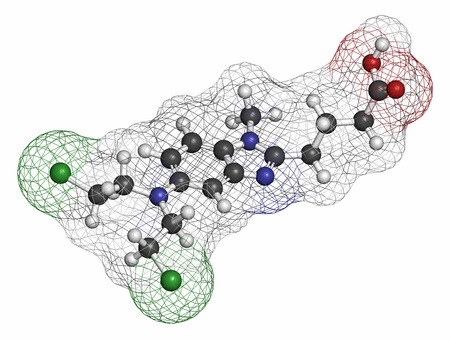 lymphoma: Bendamustine cancer chemotherapy drug molecule (nitrogen mustard). Atoms are represented as spheres with conventional color coding: hydrogen (white), carbon (grey), oxygen (red), nitrogen (blue), sulfur (yellow).