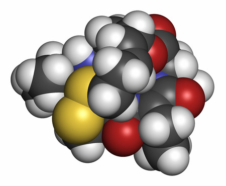 apoptosis: Romidepsin cancer drug molecule (histone deacetylase inhibitor). Atoms are represented as spheres with conventional color coding: hydrogen (white), carbon (grey), oxygen (red), nitrogen (blue), sulfur (yellow). Stock Photo