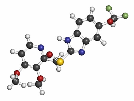proton: Pantoprazole gastric ulcer drug molecule (proton pump inhibitor). Atoms are represented as spheres with conventional color coding: hydrogen (white), carbon (grey), oxygen (red), nitrogen (blue), sulfur (yellow), fluorine (light green).