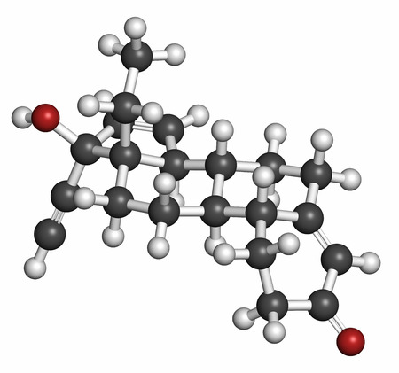 contraceptive: Gestodene progestogen hormonal contraceptive drug molecule. Atoms are represented as spheres with conventional color coding: hydrogen (white), carbon (grey), oxygen (red). Stock Photo