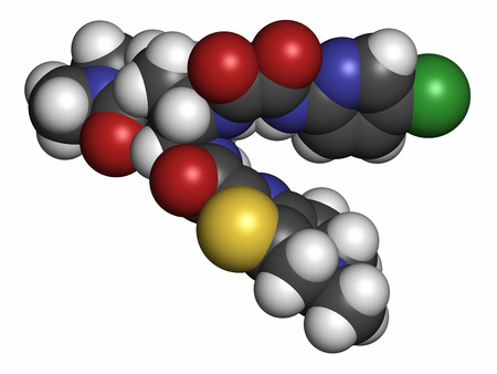 embolism: Edoxaban anticoagulant drug molecule (direct FXa inhibitor). Atoms are represented as spheres with conventional color coding: hydrogen (white), carbon (grey), oxygen (red), nitrogen (blue), chlorine (green), sulfur (yellow). Stock Photo