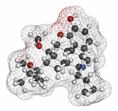 pain killer: Buprenorphine opioid addiction and pain killer drug molecule. Atoms are represented as spheres with conventional color coding: hydrogen (white), carbon (grey), oxygen (red), nitrogen (blue). Stock Photo