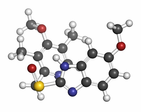 proton: Esomeprazole peptic ulcer drug molecule (proton pump inhibitor). Atoms are represented as spheres with conventional color coding: hydrogen (white), carbon (grey), oxygen (red), nitrogen (blue), sulfur (yellow).