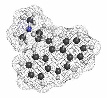 hidrogeno: Ciclobenzaprina mol�cula del f�rmaco espasmo muscular. Los �tomos se representan como esferas con codificaci�n de colores convencionales: hidr�geno (blanco), carbono (gris), nitr�geno (azul).