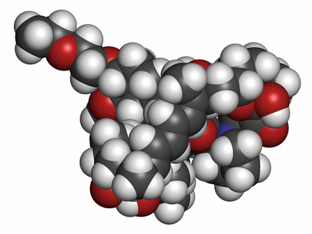 immunosuppressant: Umirolimus immunosuppressant molecule. Used in drug-eluting coronary stents. Atoms are represented as spheres with conventional color coding: hydrogen (white), carbon (grey), oxygen (red), nitrogen (blue). Stock Photo