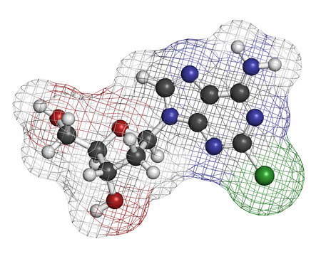 nucleoside: Cladribine cancer drug molecule. Atoms are represented as spheres with conventional color coding: hydrogen (white), carbon (grey), oxygen (red), nitrogen (blue), chlorine (green).