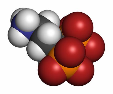 phosphorus: Pamidronic acid (pamidronate) osteoporosis drug molecule (bisphosphonate class). Atoms are represented as spheres with conventional color coding: hydrogen (white), carbon (grey), oxygen (red), nitrogen (blue), phosphorus (orange).