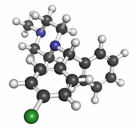 generic drugs: Chlorcyclizine antihistamine drug molecule. Used in treatment of allergy, urticaria, rhinitis and pruritus and possibly also to treat hepatitis C. Atoms are represented as spheres with conventional color coding: hydrogen (white), carbon (grey), chlorine ( Stock Photo