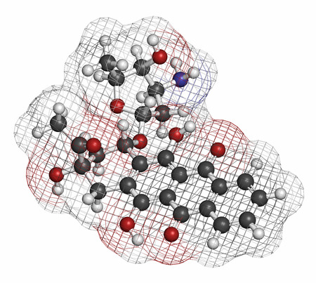 chemotherapeutic: Idarubicin cancer drug molecule. Atoms are represented as spheres with conventional color coding: hydrogen (white), carbon (grey), oxygen (red), nitrogen (blue). Stock Photo