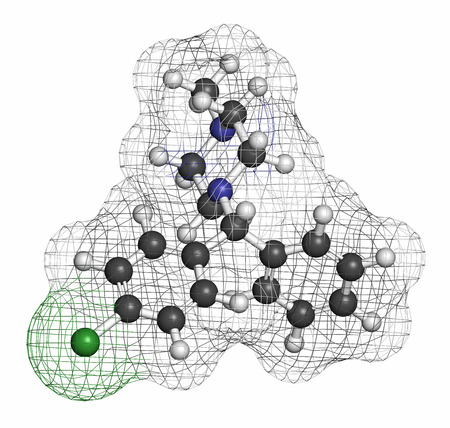 antihistamine: Chlorcyclizine antihistamine drug molecule. Used in treatment of allergy, urticaria, rhinitis and pruritus and possibly also to treat hepatitis C. Atoms are represented as spheres with conventional color coding: hydrogen (white), carbon (grey), chlorine ( Stock Photo