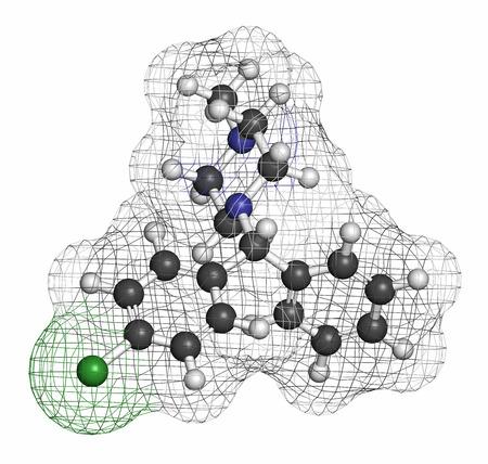 pokrzywka: Chlorcyklizyny antyhistaminowy cząsteczki leku. Stosowane w leczeniu alergii, pokrzywki, nieżytu nosa oraz świądu i ewentualnie także do leczenia zapalenia wątroby typu C. węgla są reprezentowane jako kulki z konwencjonalnym kodem barwnym: wodór (biały), węgla (szary), chlor ( Zdjęcie Seryjne