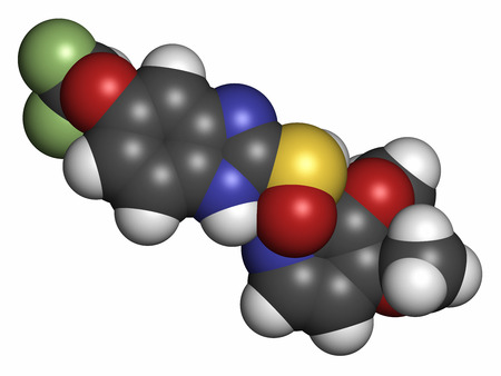 duodenal: Pantoprazole gastric ulcer drug molecule (proton pump inhibitor). Atoms are represented as spheres with conventional color coding: hydrogen (white), carbon (grey), oxygen (red), nitrogen (blue), sulfur (yellow), fluorine (light green).