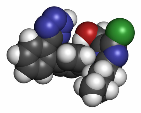 nephropathy: Losartan hypertension drug molecule. Atoms are represented as spheres with conventional color coding: hydrogen (white), carbon (grey), oxygen (red), nitrogen (blue), chlorine (green).