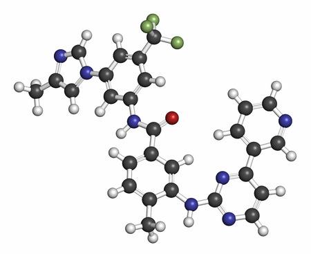 ox�geno: El nilotinib mol�cula de medicamento contra el c�ncer (inhibidor de la tirosina quinasa). Los �tomos se representan como esferas con codificaci�n de colores convencionales: hidr�geno (blanco), carb�n (gris), ox�geno (rojo), nitr�geno (azul), fl�or (verde claro).