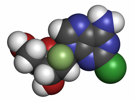 fluorine: Clofarabine cancer drug molecule (purine nucleoside antimetabolite). Atoms are represented as spheres with conventional color coding: hydrogen (white), carbon (grey), nitrogen (blue), oxygen (red), chlorine (green), fluorine (light green). Stock Photo