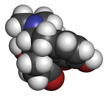 opioid: Oxymorphone opioid analgesic drug molecule. Atoms are represented as spheres with conventional color coding: hydrogen (white), carbon (grey), oxygen (red), nitrogen (blue). Stock Photo