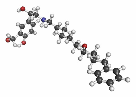 Salmeterol asthma drug molecule. Atoms are represented as spheres with conventional color coding: hydrogen (white), carbon (grey), oxygen (red), nitrogen (blue).