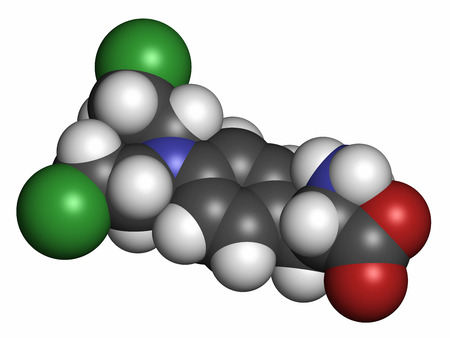 myeloma: Melphalan cancer chemotherapy drug molecule. Atoms are represented as spheres with conventional color coding: hydrogen (white), carbon (grey), nitrogen (blue), chlorine (green).