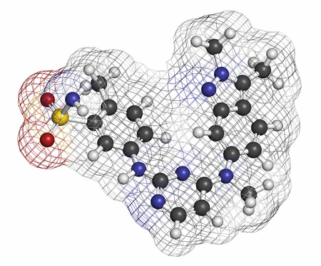 kinase: Pazopanib cancer drug molecule (tyrosine kinase inhibitor class). Atoms are represented as spheres with conventional color coding: hydrogen (white), carbon (grey), oxygen (red), nitrogen (blue), sulfur (yellow).