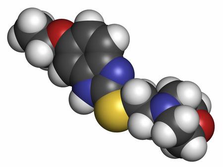muscle relaxant: Fabomotizole anxiolytic drug molecule. Atoms are represented as spheres with conventional color coding: hydrogen (white), carbon (grey), oxygen (red), nitrogen (blue), sulfur (yellow).