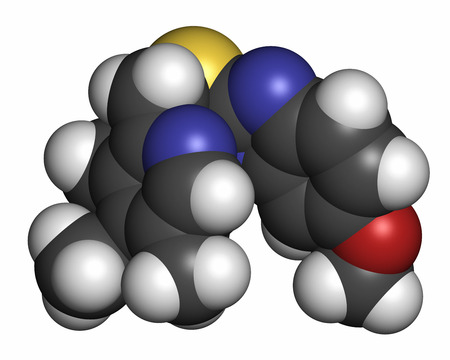 ulc�re: Esomeprazole peptic ulcer drug molecule (proton pump inhibitor). Atoms are represented as spheres with conventional color coding: hydrogen (white), carbon (grey), oxygen (red), nitrogen (blue), sulfur (yellow).