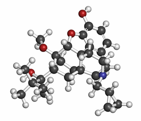 opioid: Buprenorphine opioid addiction and pain killer drug molecule. Atoms are represented as spheres with conventional color coding: hydrogen (white), carbon (grey), oxygen (red), nitrogen (blue). Stock Photo