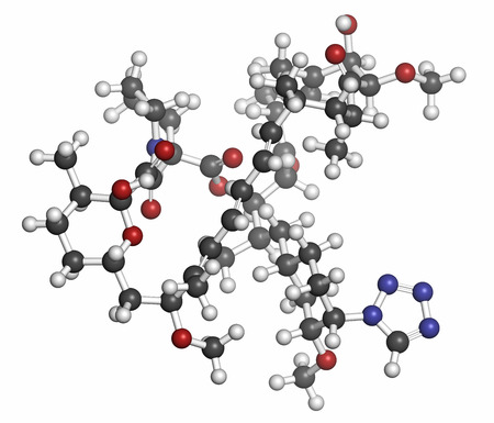 immunosuppressant: Zotarolimus immunosuppressant molecule. Used in drug-eluting coronary stents. Atoms are represented as spheres with conventional color coding: hydrogen (white), carbon (grey), oxygen (red), nitrogen (blue). Stock Photo