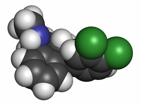 antidepressant: Sertraline antidepressant drug molecule. Atoms are represented as spheres with conventional color coding: hydrogen (white), carbon (grey), nitrogen (blue), chlorine (green).