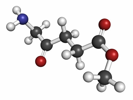 methyl: Methyl aminolevulinate non-melanoma skin cancer drug molecule. Used in photodynamic therapy. Atoms are represented as spheres with conventional color coding: hydrogen (white), carbon (grey), nitrogen (blue), oxygen (red). Stock Photo