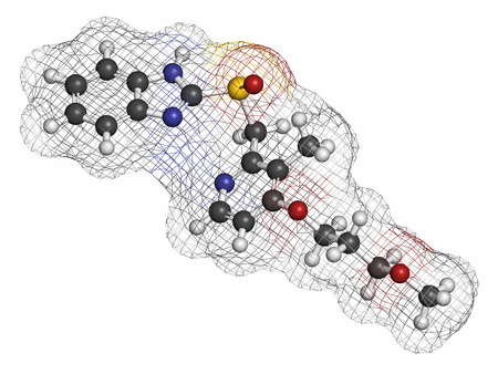 proton: Rabeprazole gastric ulcer drug molecule (proton pump inhibitor). Atoms are represented as spheres with conventional color coding: hydrogen (white), carbon (grey), oxygen (red), nitrogen (blue), sulfur (yellow). Stock Photo