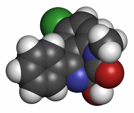 benzodiazepine: Temazepam benzodiazepine drug molecule. Used as hypnotic, anxiolytic and anticonvulsant drug. Atoms are represented as spheres with conventional color coding: hydrogen (white), carbon (grey), oxygen (red), nitrogen (blue), chlorine (green). Stock Photo