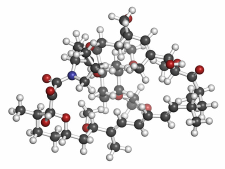 immunosuppressant: Everolimus immunosuppressant molecule. Used in drug-eluting coronary stents. Atoms are represented as spheres with conventional color coding: hydrogen (white), carbon (grey), oxygen (red), nitrogen (blue).