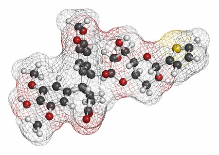 chemotherapy drug: Teniposide cancer drug molecule (topoisomerase II inhibitor). Atoms are represented as spheres with conventional color coding: hydrogen (white), carbon (grey), oxygen (red), sulfur (yellow).