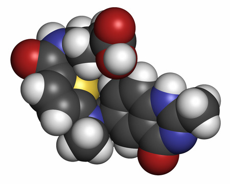 generic drugs: Raltitrexed cancer chemotherapy drug molecule. Atoms are represented as spheres with conventional color coding: hydrogen (white), carbon (grey), oxygen (red), nitrogen (blue), sulfur (yellow).