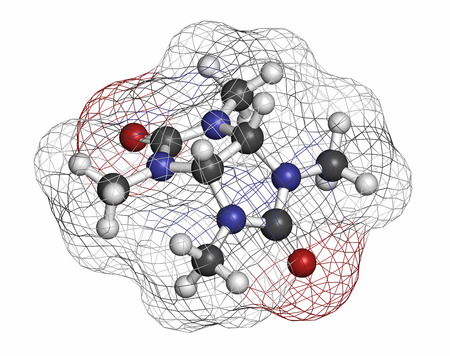 hypothalamus: Mebicar anxiolytic drug molecule. Atoms are represented as spheres with conventional color coding: hydrogen (white), carbon (grey), oxygen (red), nitrogen (blue). Stock Photo