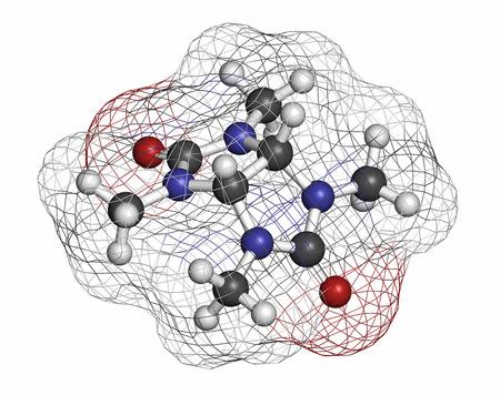 hidr�geno: Mebicar mol�cula de f�rmaco ansiol�tico. Los �tomos se representan como esferas con codificaci�n de colores convencionales: hidr�geno (blanco), carbono (gris), ox�geno (rojo), nitr�geno (azul).