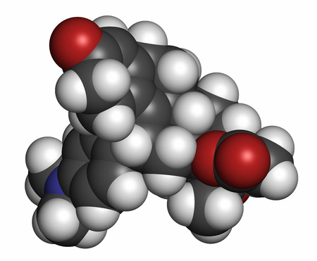 modulator: Ulipristal acetate contraceptive drug molecule. Used in emergency contraception tablets (morning-after pill). Atoms are represented as spheres with conventional color coding: hydrogen (white), carbon (grey), oxygen (red), nitrogen (blue). Stock Photo