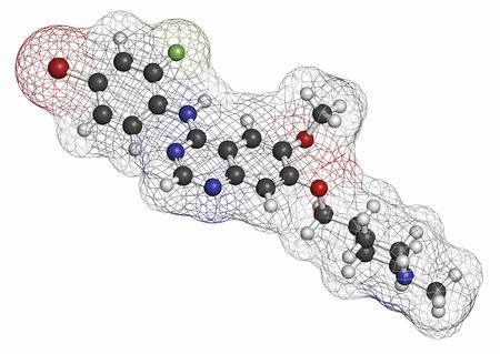 kinase: Vandetanib cancer drug molecule (kinase inhibitor). Atoms are represented as spheres with conventional color coding: hydrogen (white), carbon (grey), oxygen (red), nitrogen (blue), bromine (brown), fluorine (light green).