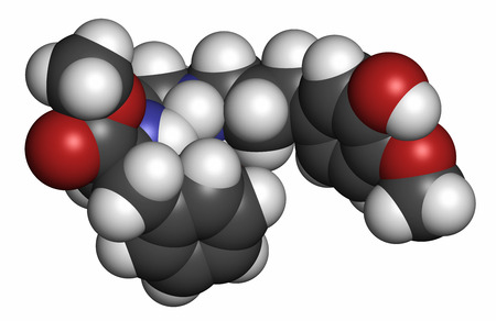 substitute: Advantame (E969) sugar substitute molecule. Atoms are represented as spheres with conventional color coding: hydrogen (white), carbon (grey), oxygen (red), nitrogen (blue).