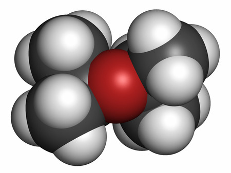 solvent: Diisopropyl ether chemical solvent molecule. Atoms are represented as spheres with conventional color coding: hydrogen (white), carbon (grey), oxygen (red).