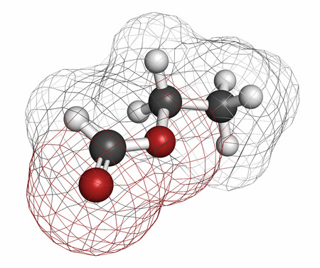 formic: Ethyl formate (ethyl methanoate) molecule. Atoms are represented as spheres with conventional color coding: hydrogen (white), carbon (grey), oxygen (red). Stock Photo