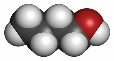 solvent: n-butanol (1-butanol) molecule. Used as flavouring and as a solvent. Atoms are represented as spheres with conventional color coding: hydrogen (white), carbon (grey), oxygen (red).