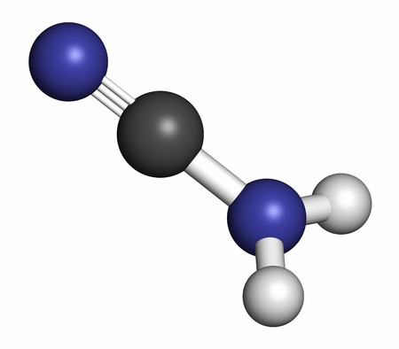 Cyanamide molecule. Used in agriculture and chemical synthesis. Atoms are represented as spheres with conventional color coding: hydrogen (white), carbon (grey), nitrogen (blue). Stock Photo